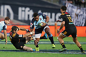 June 3rd 2017, FMG Stadium, Waikato, Hamilton, New Zealand; Super Rugby; Chiefs versus Waratahs;  Chiefs second five Stephen Donald tackles Waratahs winger Taqele Naiyaravoro during the Super Rugby rugby match