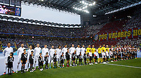 Calcio, finale di Champions League: Real Madrid vs Atletico Madrid. Stadio San Siro, Milano, 28 maggio 2016.<br /> Real Madrid and Atletico Madrid teams line up prior to the start of their Champions League final match, at Milan's San Siro stadium, 28 May 2016.<br /> UPDATE IMAGES PRESS/Isabella Bonotto