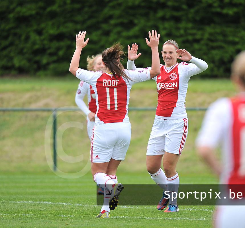 RSC Anderlecht Dames - Ajax Amsterdam : vreugde bij Ajax en Chantal De Ridder na de 0-1.foto DAVID CATRY / Nikonpro.be