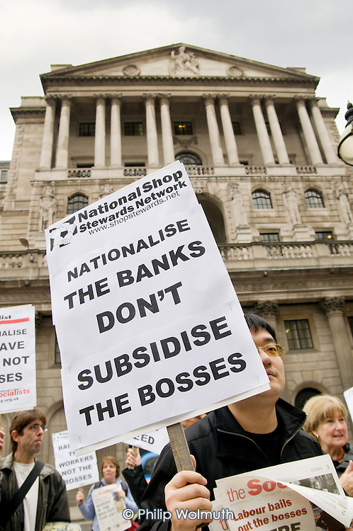 National Shop Stewards Network demonstrate outside the Bank of England.