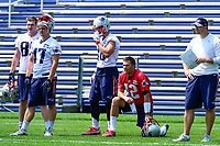 June 13, 2017: New England Patriots quarterback Tom Brady (12) gets a break at the New England Patriots organized team activity held on the practice field at Gillette Stadium, in Foxborough, Massachusetts. Eric Canha/CSM