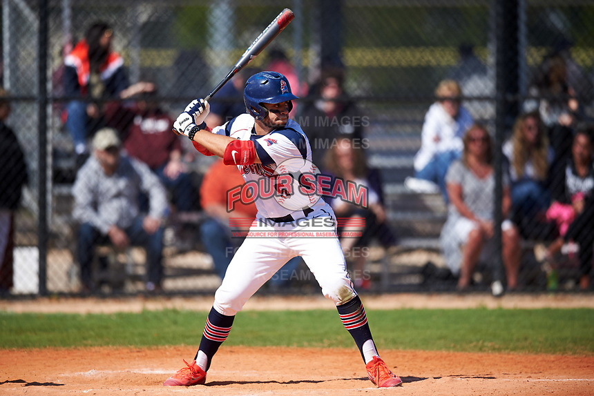 FDU-Florham Devils left fielder Reynaldo Diaz (5) at bat during the first game of a doubleheader against the Farmingdale State Rams on March 15, 2017 at Lake Myrtle Park in Auburndale, Florida.  Farmingdale defeated FDU-Florham 6-3.  (Mike Janes/Four Seam Images)