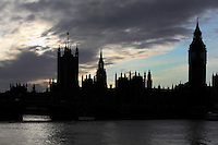 The Palace of Westminster, London, UK , or Houses of Parliament, 1840-60, by Sir Charles Barry and Augustus Pugin. The Gothic Perpendicular building replaced its predecessor, destroyed by fire, 1834. The 96.3 metre high clock tower is named after its largest bell, Big Ben. Picture by Manuel Cohen