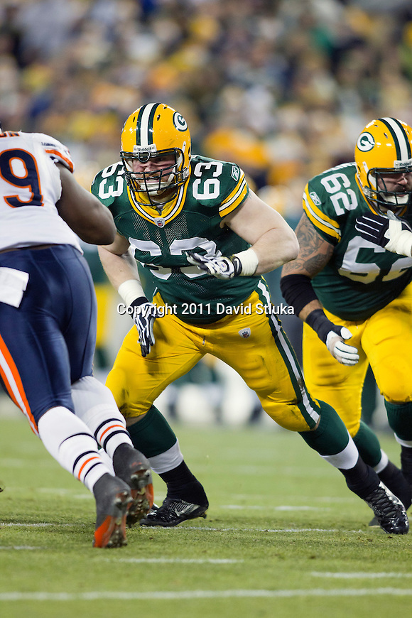 Green Bay Packers center/offensive lineman Scott Wells (63) during a week 16 NFL football game against the Chicago Bears on December 25, 2011 in Green Bay, Wisconsin. The Packers won 35-21. (AP Photo/David Stluka)