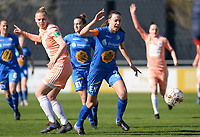 20190324 - OOSTAKKER , BELGIUM : Anderlecht's Ella van Kerkhoven (left) pictured in a duel with Gent's Silke Vanwynsberghe during the quarter final of Belgian cup 2019 , a womensoccer game between KAA Gent Ladies and RSC Anderlecht , at the PGB stadion in Oostakker , sunday 24 th March 2019 . PHOTO SPORTPIX.BE | DAVID CATRY