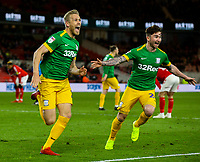Preston North End's Jayden Stockley celebrates scoring the winning goal<br /> <br /> Photographer Alex Dodd/CameraSport<br /> <br /> The EFL Sky Bet Championship - Middlesbrough v Preston North End - Wednesday 13th March 2019 - Riverside Stadium - Middlesbrough<br /> <br /> World Copyright &copy; 2019 CameraSport. All rights reserved. 43 Linden Ave. Countesthorpe. Leicester. England. LE8 5PG - Tel: +44 (0) 116 277 4147 - admin@camerasport.com - www.camerasport.com