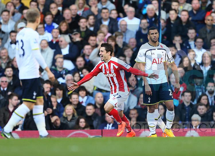 Stoke's Bojan Krkic celebrates scoring his sides opening goal<br /> <br /> - Barclays Premier League - Tottenham Hotspur vs Stoke City- White Hart Lane - London - England - 9th November 2014  - Picture David Klein/Sportimage