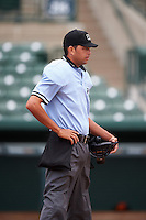 Umpire Emil Jimenez before the first game of a doubleheader between the GCL Rays and GCL Orioles on August 1, 2015 at the Ed Smith Stadium in Sarasota, Florida.  GCL Orioles defeated the GCL Rays 2-0.  (Mike Janes/Four Seam Images)