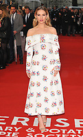 Lily James at the &quot;The Guernsey Literary And Potato Peel Pie Society&quot; world film premiere, Curzon Mayfair cinema, Curzon Street, London, England, UK, on Monday 09 April 2018.<br /> <br /> CAP/CAN<br /> &copy;CAN/Capital Pictures