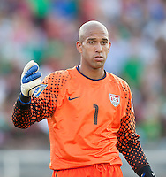 PASADENA, CA – June 25, 2011: USA goalie Tim Howard (1) during the Gold Cup Final match between USA and Mexico at the Rose Bowl in Pasadena, California. Final score USA 2 and Mexico 4.