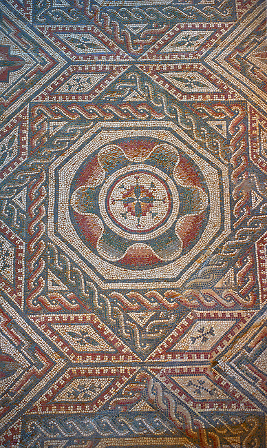 Close up picture of the Roman mosaics of the Room with Star Shaped Decorations depicting an octagonal rosette geometric mosaic patterns, room no 22 at the Villa Romana del Casale, first quarter of the 4th century AD. Sicily, Italy. A UNESCO World Heritage Site.