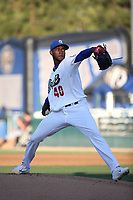 Yadier Alvarez (40) of the Rancho Cucamonga Quakes pitches against the Modesto Nuts at LoanMart Field on June 5, 2017 in Rancho Cucamonga, California. Rancho Cucamonga defeated Modesto, 7-5. (Larry Goren/Four Seam Images)