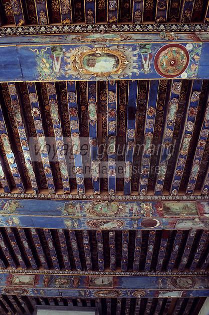 Europe/France/Poitou-Charentes/79/Deux-Sèvres/Oiron: Le Château 16 ème siècle et 17° siècle  - Salle des gardes - Plafond à caissons peints