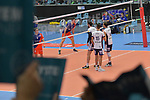 02.12.2017,  Hamburg GER, VBL, SVG Lueneburg vs United Volleys Rhein-Main  im Bild Feature die Lueneburger Fans zeigen den Block mit Spielfeld im Hintergrund / Foto © nordphoto / Witke