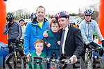 Michael Healy Rae with Donal O'Reilly and his kids Darragh and Stephen at the start of the Two Lakes Cycle in Killorglin on Saturday