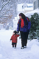 Mother and Child walking together, Moorestown, New Jersey
