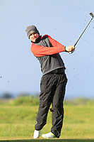 Nick McAndrew (SCO) on the 12th tee during Round 3 of The Irish Amateur Open Championship in The Royal Dublin Golf Club on Saturday 10th May 2014.<br /> Picture:  Thos Caffrey / www.golffile.ie