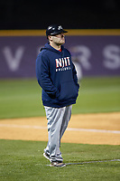 NJIT Highlanders assistant coach Grant Neary coaches third base during the game against the High Point Panthers at Williard Stadium on February 18, 2017 in High Point, North Carolina. The Highlanders defeated the Panthers 4-2 in game two of a double-header. (Brian Westerholt/Four Seam Images)