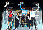 Michal Kwiatkowski (POL) Team Sky takes the overall win with Damiano Caruso (ITA) BMC Racing Team in 2nd place and Geraint Thomas (WAL) Team Sky 3rd after Stage 7 of the 53rd edition of the Tirreno-Adriatico 2018 a 10km individual time trial around San Benedetto del Tronto, Italy. 13th March 2018.<br /> Picture: LaPresse/Spada | Cyclefile<br /> <br /> <br /> All photos usage must carry mandatory copyright credit (&copy; Cyclefile | LaPresse/Spada)