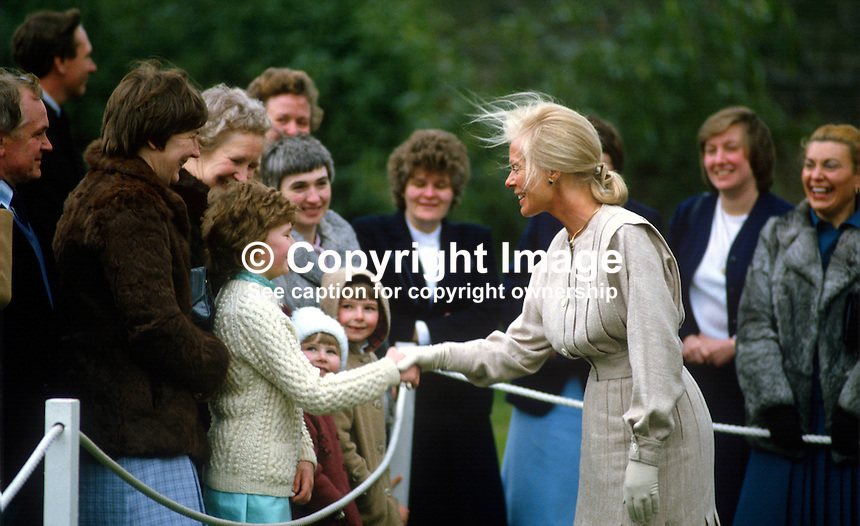 Duchess of Kent meets the families of staff at Hillsborough Castle, N Ireland, during the duchess's April 3 and 4, 1984 visit to the Province. 198404030044f ..Copyright Image from Victor Patterson, 54 Dorchester Park, Belfast, UK, BT9 6RJ..Tel: +44 28 9066 1296.Mob: +44 7802 353836.Voicemail +44 20 8816 7153.Skype: victorpattersonbelfast.Email: victorpatterson@me.com.Email: victorpatterson@ireland.com (back-up)..IMPORTANT: If you wish to use this image or any other of my images please go to www.victorpatterson.com and click on the Terms & Conditions. Then contact me by email or phone with the reference number(s) of the image(s) concerned.