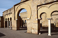 The Military Barracks (Dar al-Yund); Caliph?s Palace of Madinat az-Zahra erected by Abd ar-Rahman III who imitated the Abbasid caliphs in Baghdad in building a royal city just outside the city of Cordoba itself; 936-945 AD, Madinat az-Zahra, Cordoba, Andalusia, Spain; A central axis of three long naves precedes through arcades to a portico, which separates the army headquarters from the residences of the nobility. Picture by Manuel Cohen