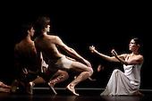 Iphigenie auf Tauris, Tanztheater Wuppertal Pina Bausch, Sadler's Wells, London, Ruth Amarante as Iphigenie, Pablo Aran Gimeno as Orest (centre) and Damiano Ottavio Bigi as Pylades