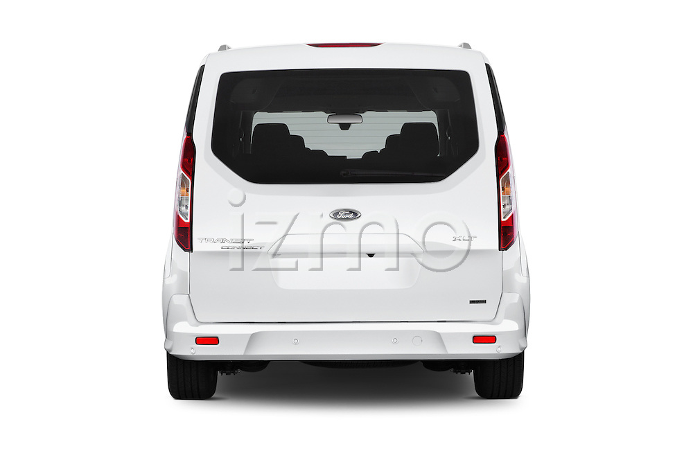 Straight rear view of 2016 Ford Transit-Connect XLT-LWB 5 Door mini MPV Rear View  stock images