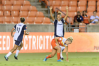 Houston, TX - Saturday July 15, 2017: Estelle Johnson celebrates her goal in the second half with Mallory Pugh during a regular season National Women's Soccer League (NWSL) match between the Houston Dash and the Washington Spirit at BBVA Compass Stadium.