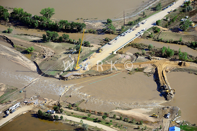 Bridge repair crews, South Platte River, east of Greeley, CO