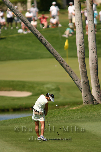 March 28, 2004; Rancho Mirage, CA, USA;  Grace Park splits the palm trees on the 5th hole during the final round of the LPGA Kraft Nabisco golf tournament held at Mission Hills Country Club.  Park won her first major tournament by one stroke over Aree Song with an overall score of 11 under par 277.  She finished the day with a 3 under par 69.<br />