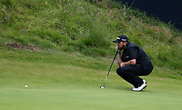 210719 | The 148th Open - Final Round<br /> <br /> Shane Lowry of Ireland lines up his putt on the 18th during the final round of the 148th Open Championship at Royal Portrush Golf Club, County Antrim, Northern Ireland. Photo by John Dickson - DICKSONDIGITAL