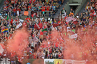 Portland, Oregon - Sunday April 17, 2016: Portland Thorns FC fans. The Portland Thorns play the Orlando Pride during a regular season NWSL match at Providence Park. The Thorns won 2-1.
