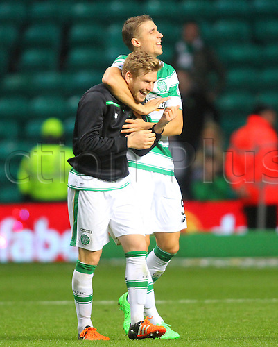 25.10.2015. Glasgow, Scotland. Scottish Premier League. Celtic versus Dundee United. Stuart Armstrong and Jozo Simunovic