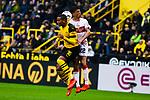 09.03.2019, Signal Iduna Park, Dortmund, GER, 1.FBL, Borussia Dortmund vs VfB Stuttgart, DFL REGULATIONS PROHIBIT ANY USE OF PHOTOGRAPHS AS IMAGE SEQUENCES AND/OR QUASI-VIDEO<br /> <br /> im Bild   picture shows:<br /> Kopfballduell zwischen Manuel Akanji (Borussia Dortmund #16) und Nicolas Gonzalez (VfB Stuttgart #22), <br /> <br /> Foto &copy; nordphoto / Rauch