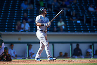 Glendale Desert Dogs first baseman Matt Beaty (17), of the Los Angeles Dodgers organization, follows through on his swing during an Arizona Fall League game against the Mesa Solar Sox on October 28, 2017 at Sloan Park in Mesa, Arizona. The Solar Sox defeated the Desert Dogs 9-6. (Zachary Lucy/Four Seam Images)
