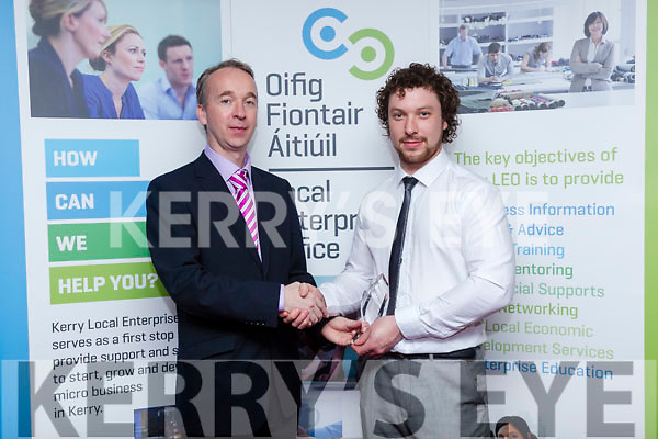 Kerry Local Enterprise Awards held at Manor West Hotel on Friday. Victor Sheahan, Senior Enterprise Development officer, presented  Joseph Moynihan, Managing Director at JM Agri-Design, the Innovation Award,