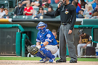 Brian Ward (10) of the Oklahoma City Dodgers looks towards the dugout while on on defense against the Salt Lake Bees in Pacific Coast League action at Smith's Ballpark on May 25, 2015 in Salt Lake City, Utah.  (Stephen Smith/Four Seam Images)