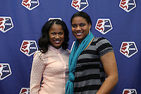 INDIANAPOLIS, IN - January 18, 2013: Zakiya Bywaters (left) was selected by the Chicago Red Stars with the first overall pick, and Adrianna Franch (right) was selected by Western New York Flash with the sixth pick. The National Women's Soccer League held its college draft at the Indiana Convention Center in Indianapolis, Indiana during the NSCAA Annual Convention.