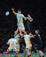 Will Rowlands of Wasps wins a lineout during Big Game 11, the Gallagher Premiership Rugby match between Harlequins and Wasps, at Twickenham Stadium on Saturday 29th December 2018 (Photo by Rob Munro/Stewart Communications)