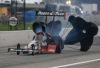 Aug 30, 2014; Clermont, IN, USA; NHRA top fuel dragster driver Clay Millican during qualifying for the US Nationals at Lucas Oil Raceway. Mandatory Credit: Mark J. Rebilas-USA TODAY Sports