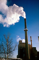 POWER PLANT.Coal-Fired w/White Smoke.Cold day in Rochester, MN.