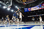 02 APR 2016: Guard Buddy Hield (24) of the University of Oklahoma goes for a loose ball against Guard Jalen Brunson (1) and Guard Ryan Arcidiacono (15) of Villanova University during the 2016 NCAA Men's Division I Basketball Final Four Semifinal game held at NRG Stadium in Houston, TX.  Brett Wilhelm/NCAA Photos