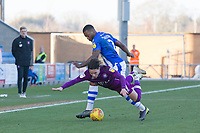 Ryan Jackson of Colchester United outmuscles Callum O'Hare of Carlisle United during Colchester United vs Carlisle United, Sky Bet EFL League 2 Football at the JobServe Community Stadium on 23rd February 2019