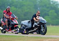 April 30, 2011; Baytown, TX, USA: NHRA pro stock motorcycle rider Matt Smith during the Spring Nationals at Royal Purple Raceway. Mandatory Credit: Mark J. Rebilas-