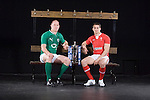 Sam Warburton (Wales) and Paul O Connell (Ireland) during the official launch of the RBS Six Nations rugby tournament at the Hurlingham Club in London..