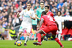 Real Madrid's Lucas Vazquez (l) and Sevilla FC's Carole (c) and Ever Banega during La Liga match.December 09,2017. (ALTERPHOTOS/Acero)