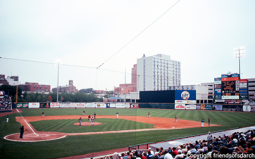 Ballparks: Akron--Canal Park, center field.