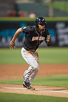 Jupiter Hammerheads left fielder Stone Garrett (11) runs home during a game against the Clearwater Threshers on April 9, 2018 at Spectrum Field in Clearwater, Florida.  Jupiter defeated Clearwater 9-4.  (Mike Janes/Four Seam Images)