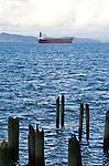 Columbia River, Astoria, Oregon, old pilings, cargo ship at anchor,