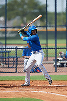 GCL Blue Jays shortstop Luis De Los Santos (1) at bat during the first game of a doubleheader against the GCL Yankees East on July 24, 2017 at the Yankees Minor League Complex in Tampa, Florida.  GCL Blue Jays defeated the GCL Yankees East 6-3 in a game that originally started on July 8th.  (Mike Janes/Four Seam Images)